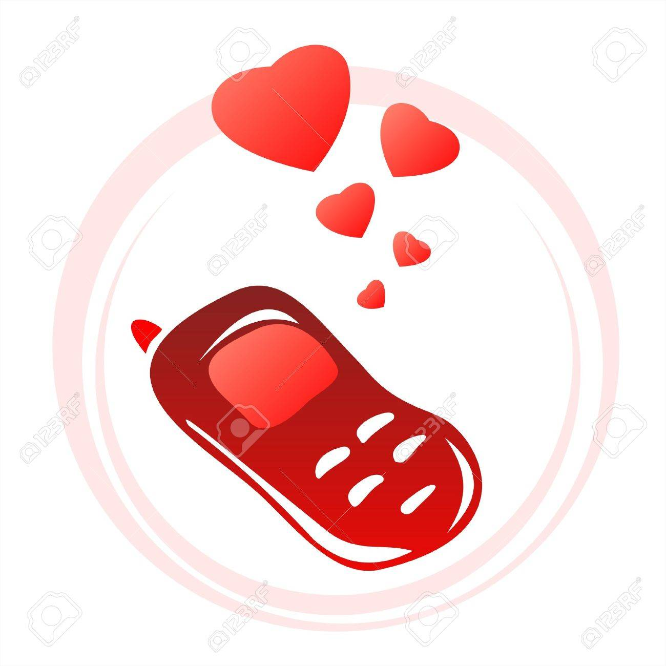 Red stylized phone and hearts on a white background. Valentine's illustration. Stock Vector - 2404030