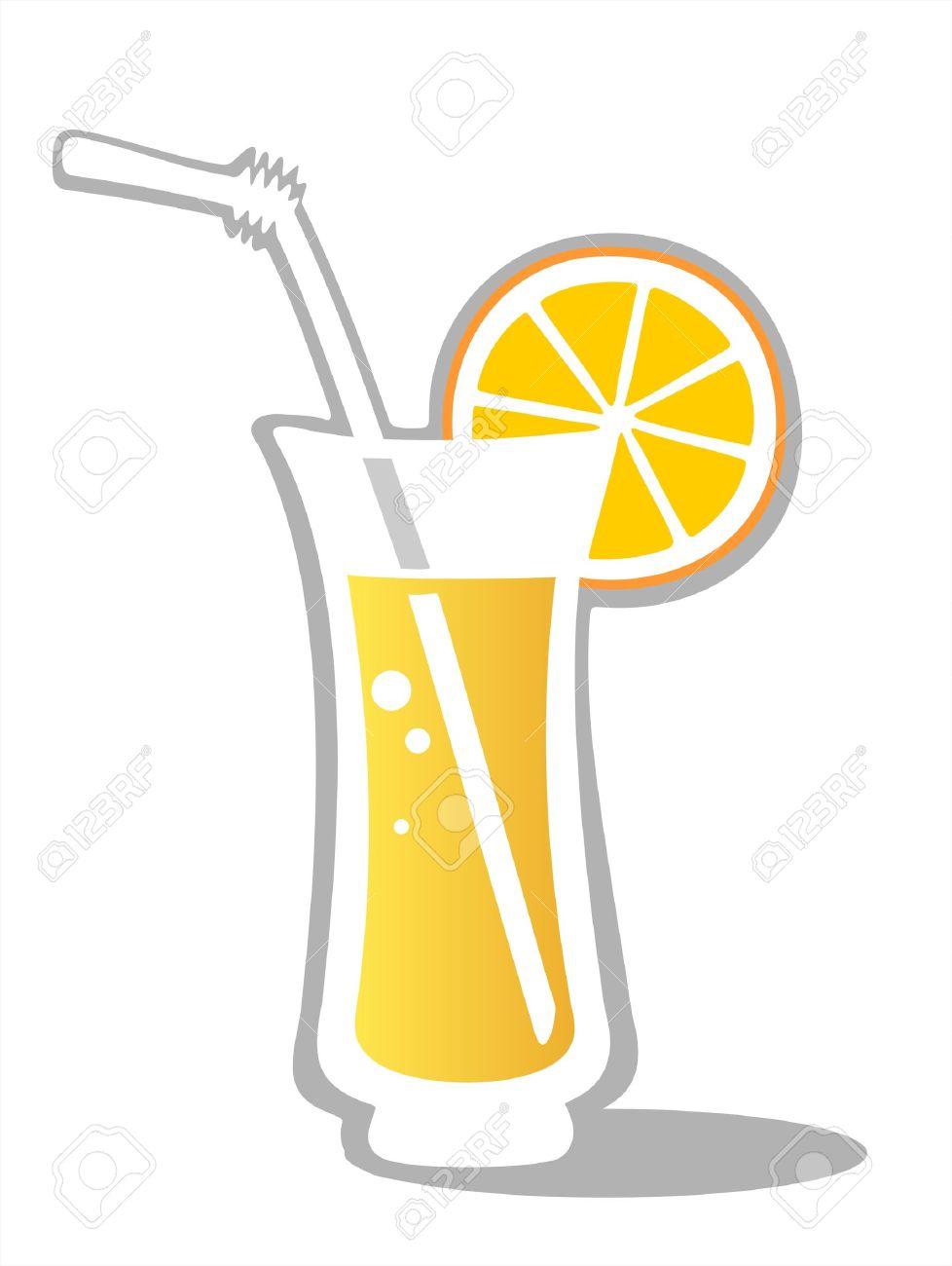 Cartoon Juice Glass Orange Juice Glass Isolated on