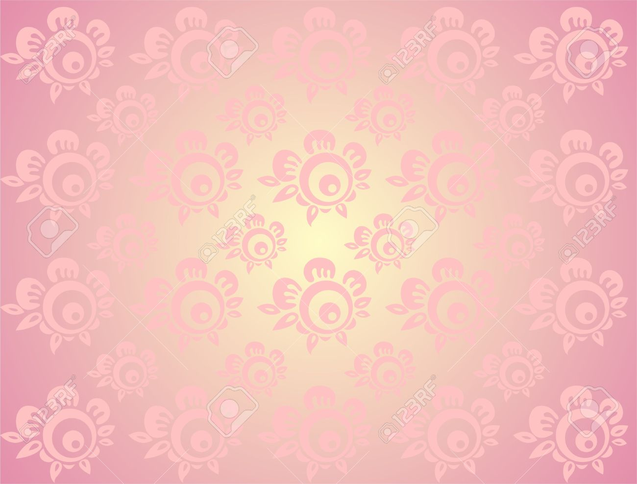The Light Pink Stylized Flowers On A Pink Background Stock Photo