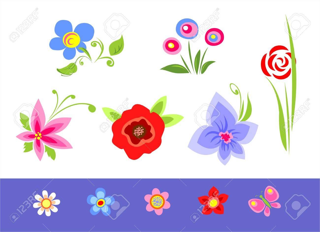 Les Différentes Fleurs Stylisées De Couleur Blanche Sur Un Fond Bleu