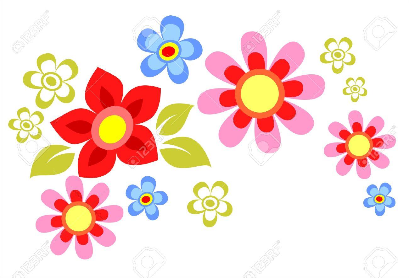 Adornado De Flores De Dibujos Animados Composicion Aislada En Un
