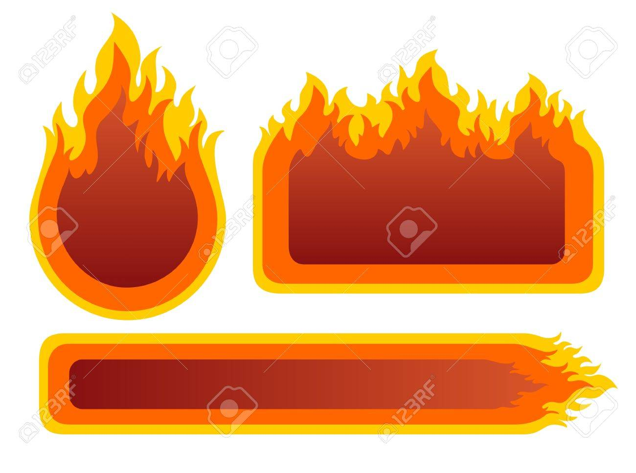 Three ornate fire frames isolated on a white background. Stock Vector - 3118727