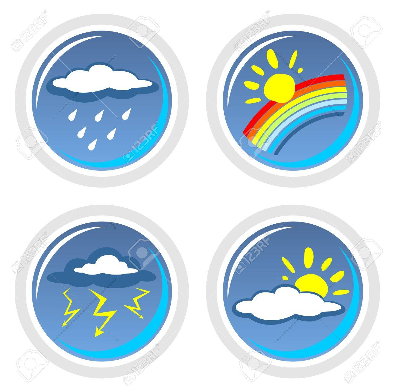 Four ornate weather symbols isolated on a white background. Stock Vector - 3118729