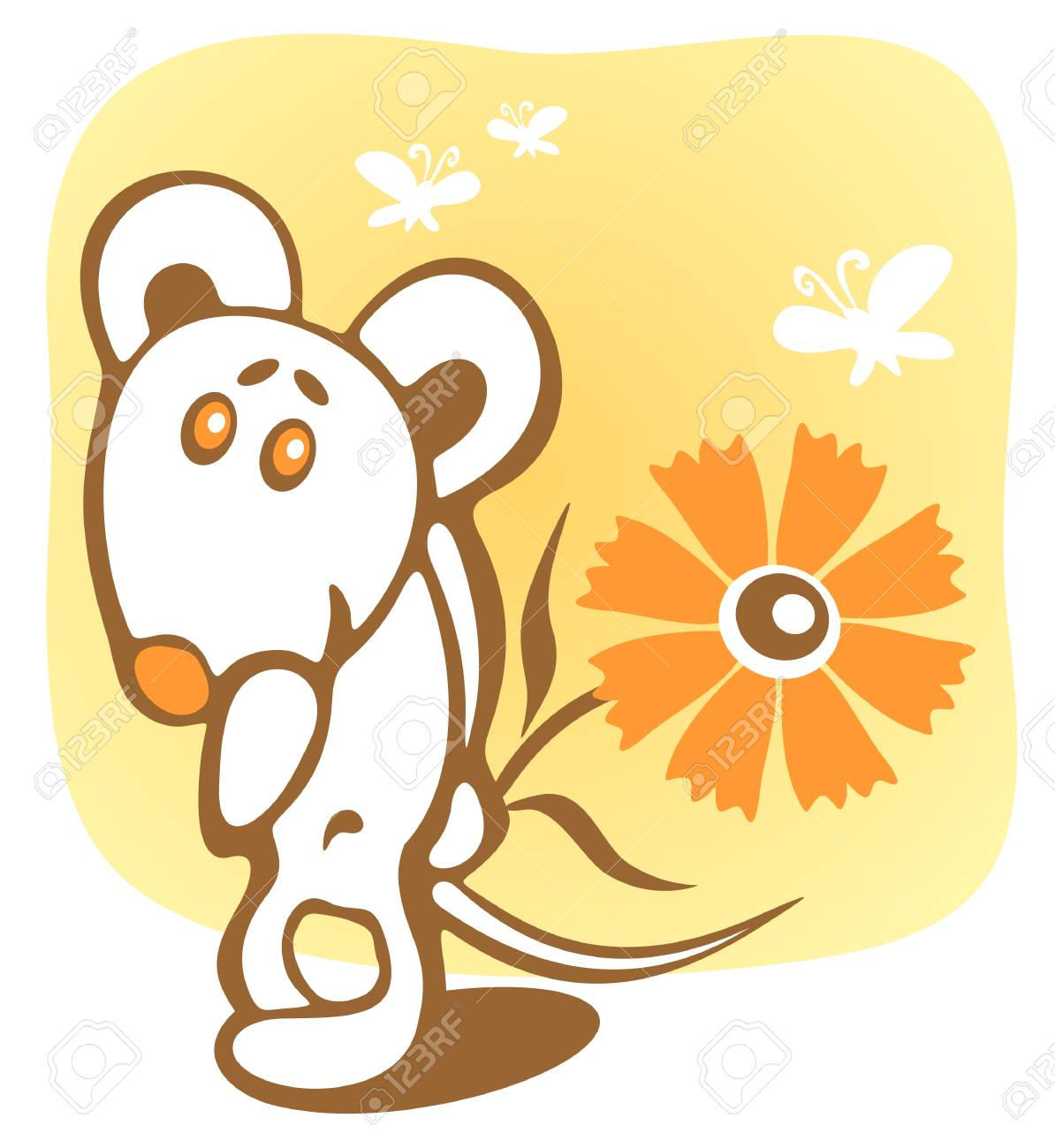 Cheerful mouse and flower on a yellow background. Stock Vector - 3183312