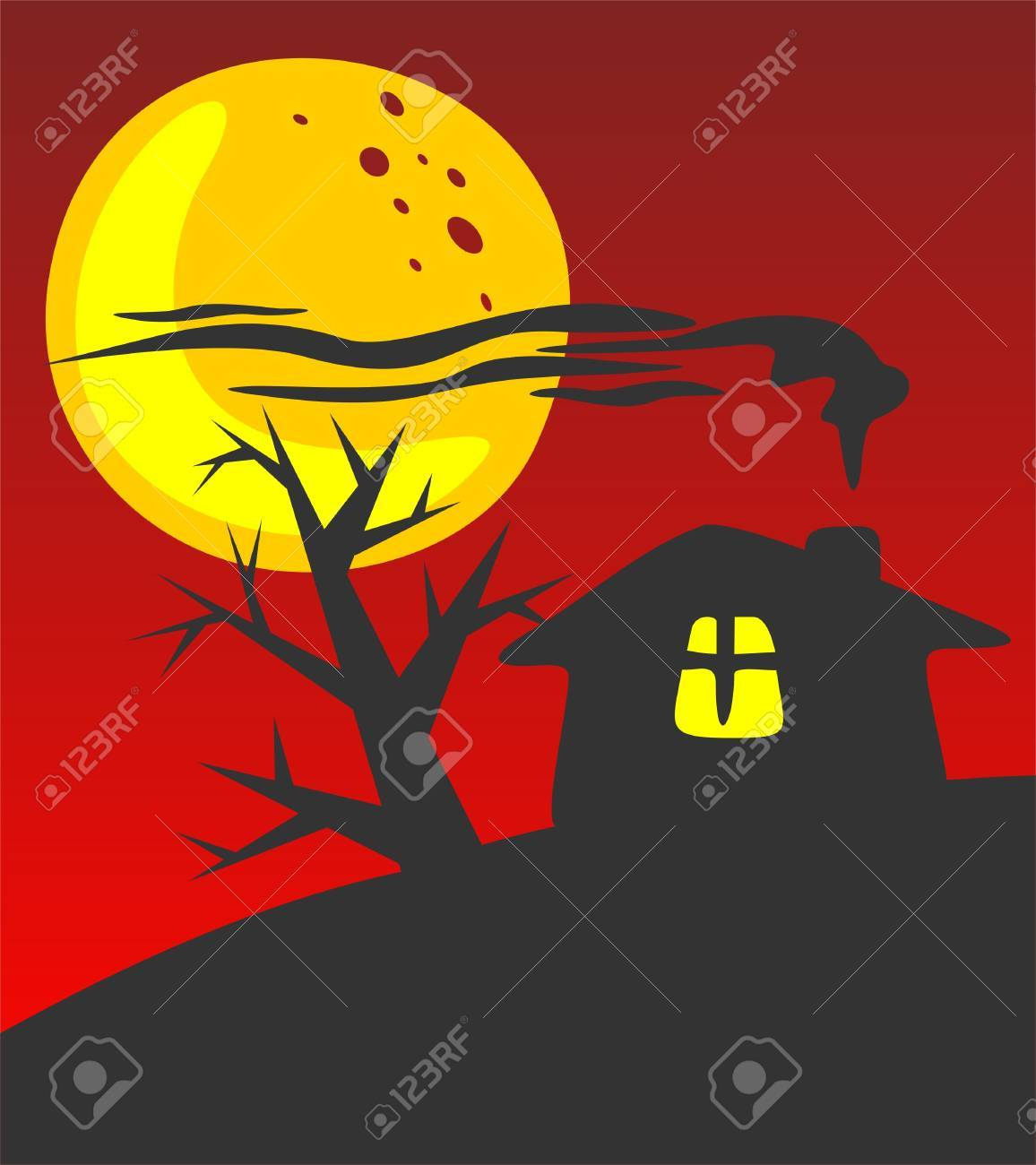 Rural house silhouette on a red background. Halloween illustration. Stock Vector - 3565327