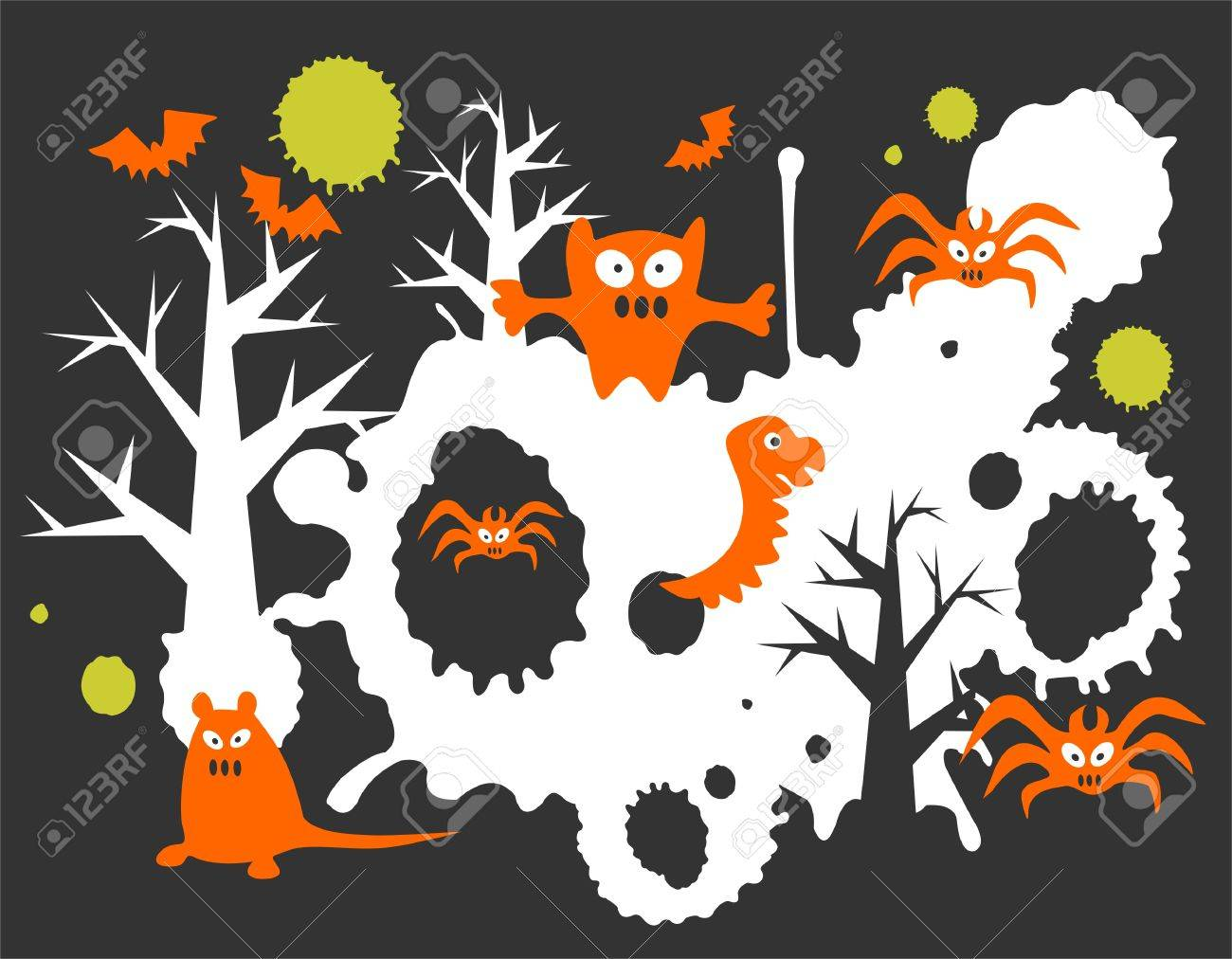 Monsters and grunge pattern on a black background. Halloween illustration. Stock Vector - 3590015