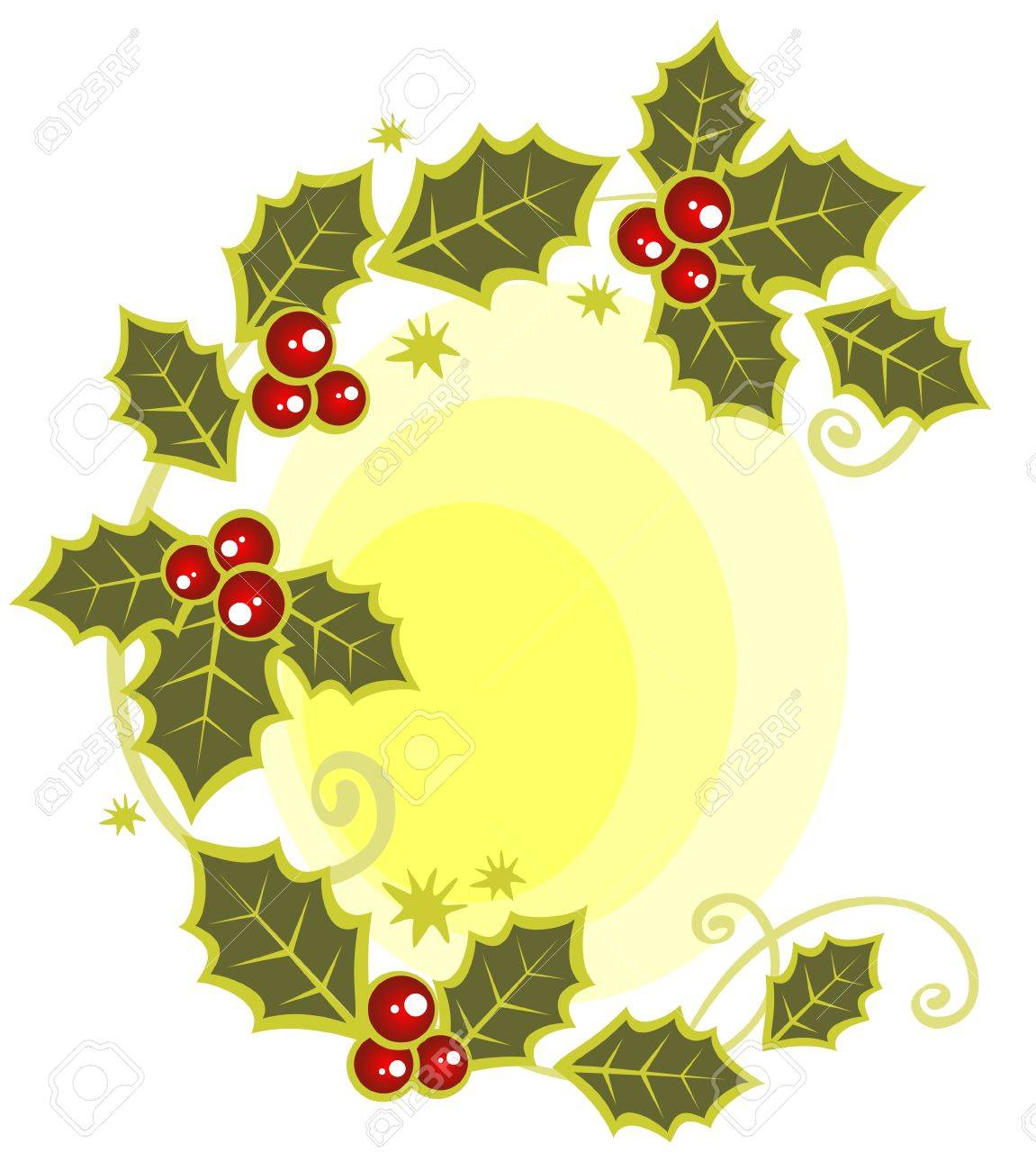 Christmas symbol from holly berry leaves pattern. Stock Vector - 3718700