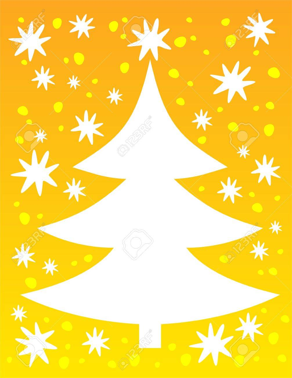 cartoon christmas tree silhouette on a yellow winter background