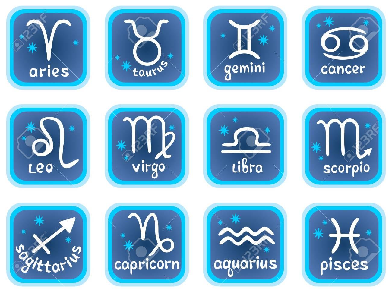 White stylized horoscope symbols on a blue background. Zodiac star signs. Stock Vector - 3974177
