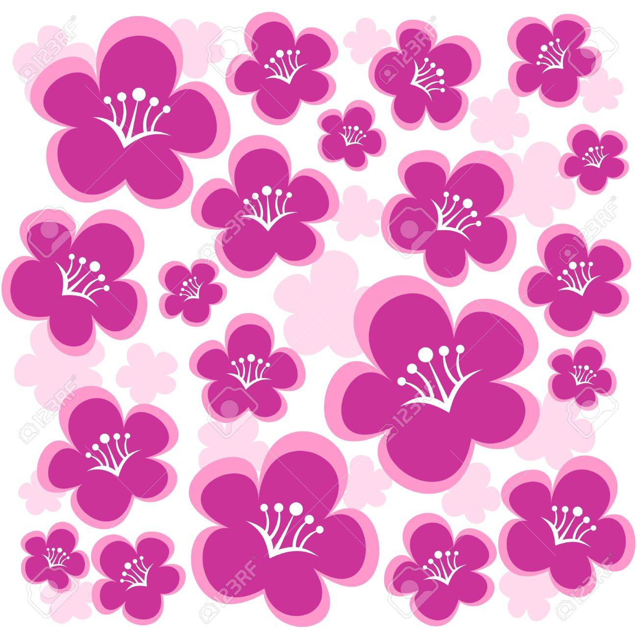 Cartoon pink flowers isolated on a white background royalty free cartoon pink flowers isolated on a white background stock vector 4395697 mightylinksfo