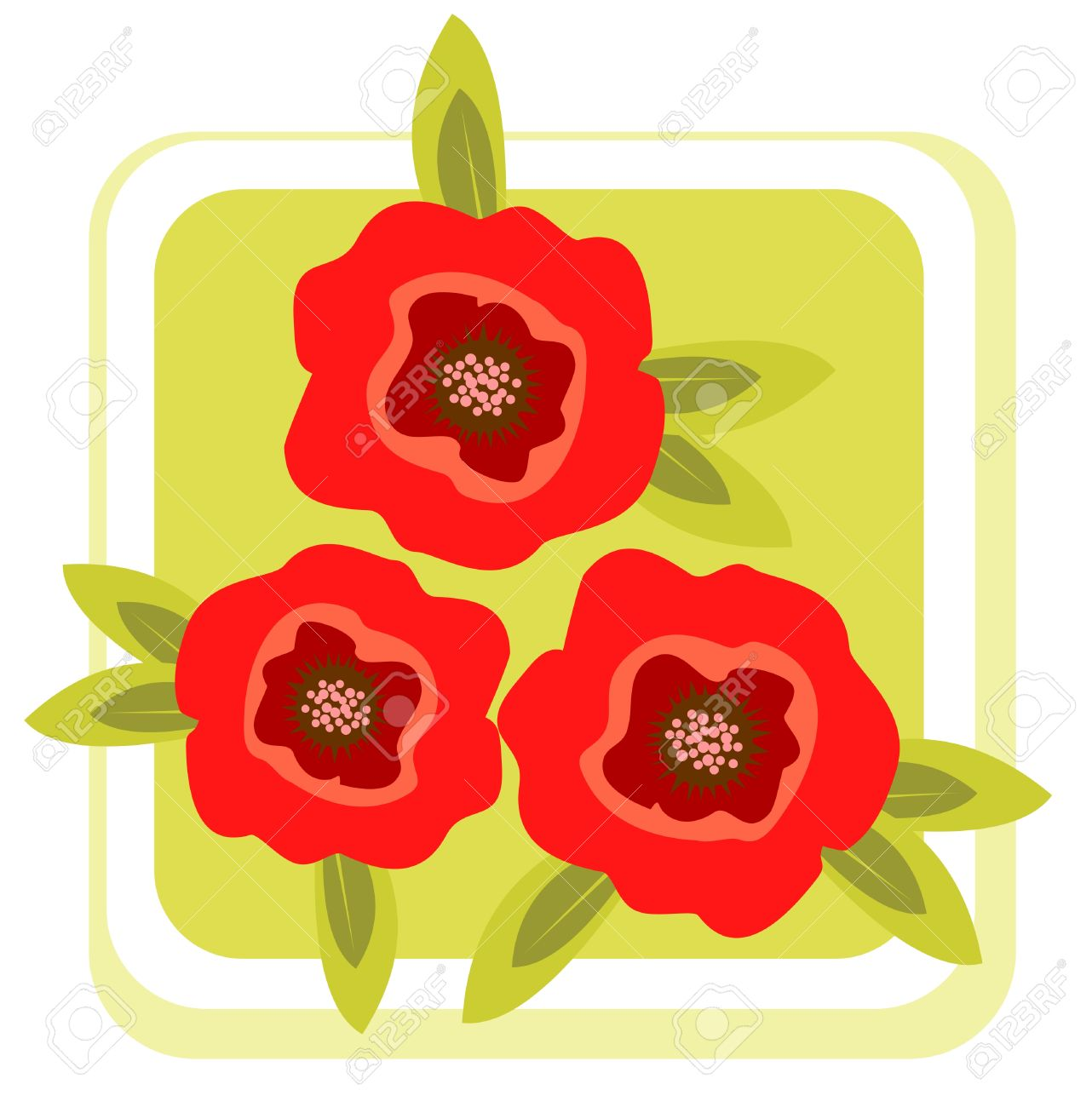 Cartoon Red Poppy Flowers On A Green Background Royalty Free