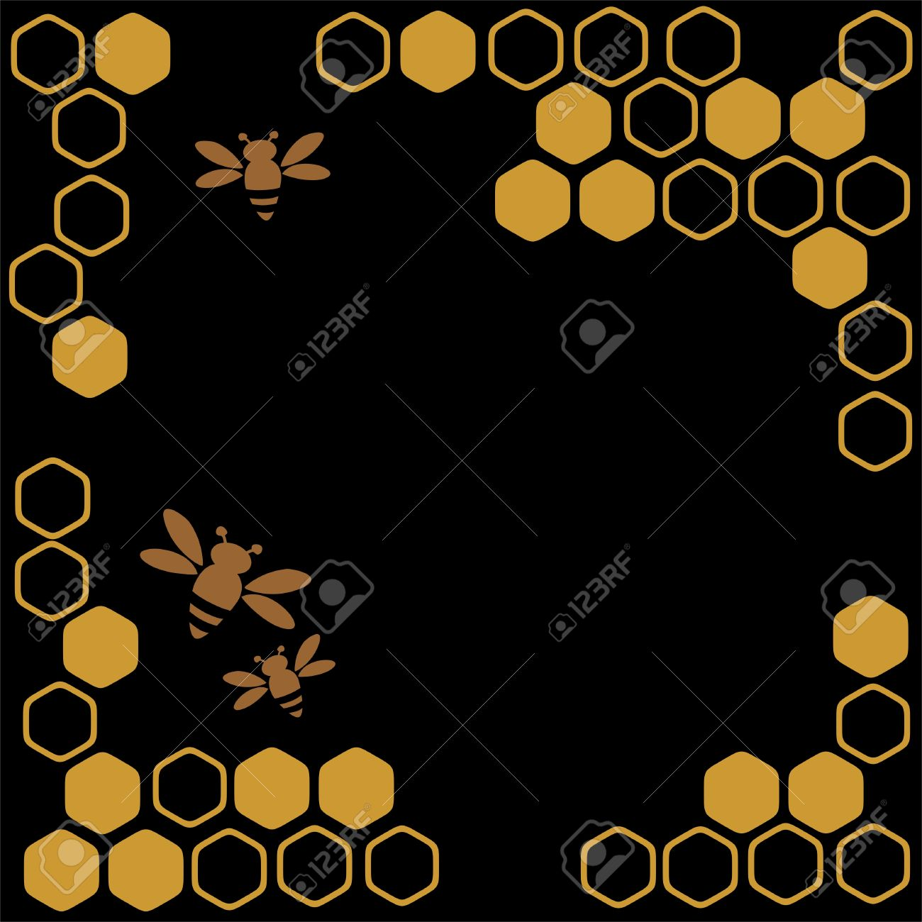 Stylized Bees And Honey On A Black Background Stock Vector