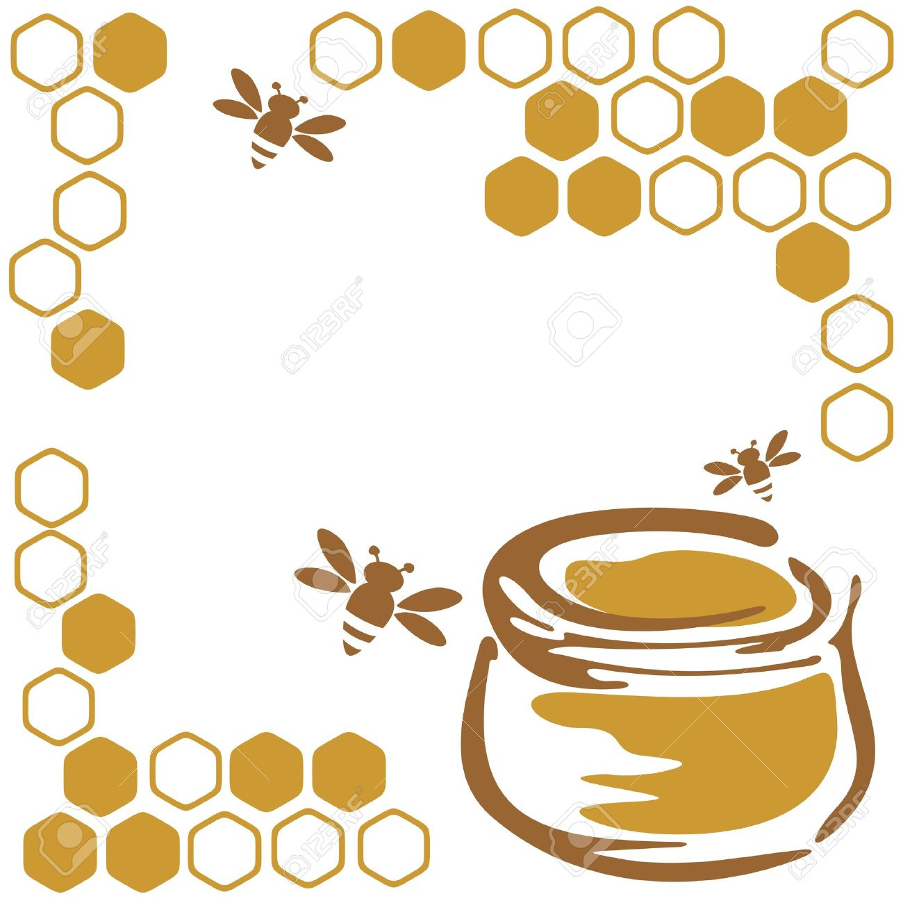 Larger preview vector clip art of a happy yellow coffee cup character - Honey Pot Stylized Bees And Honey On A White Background Illustration