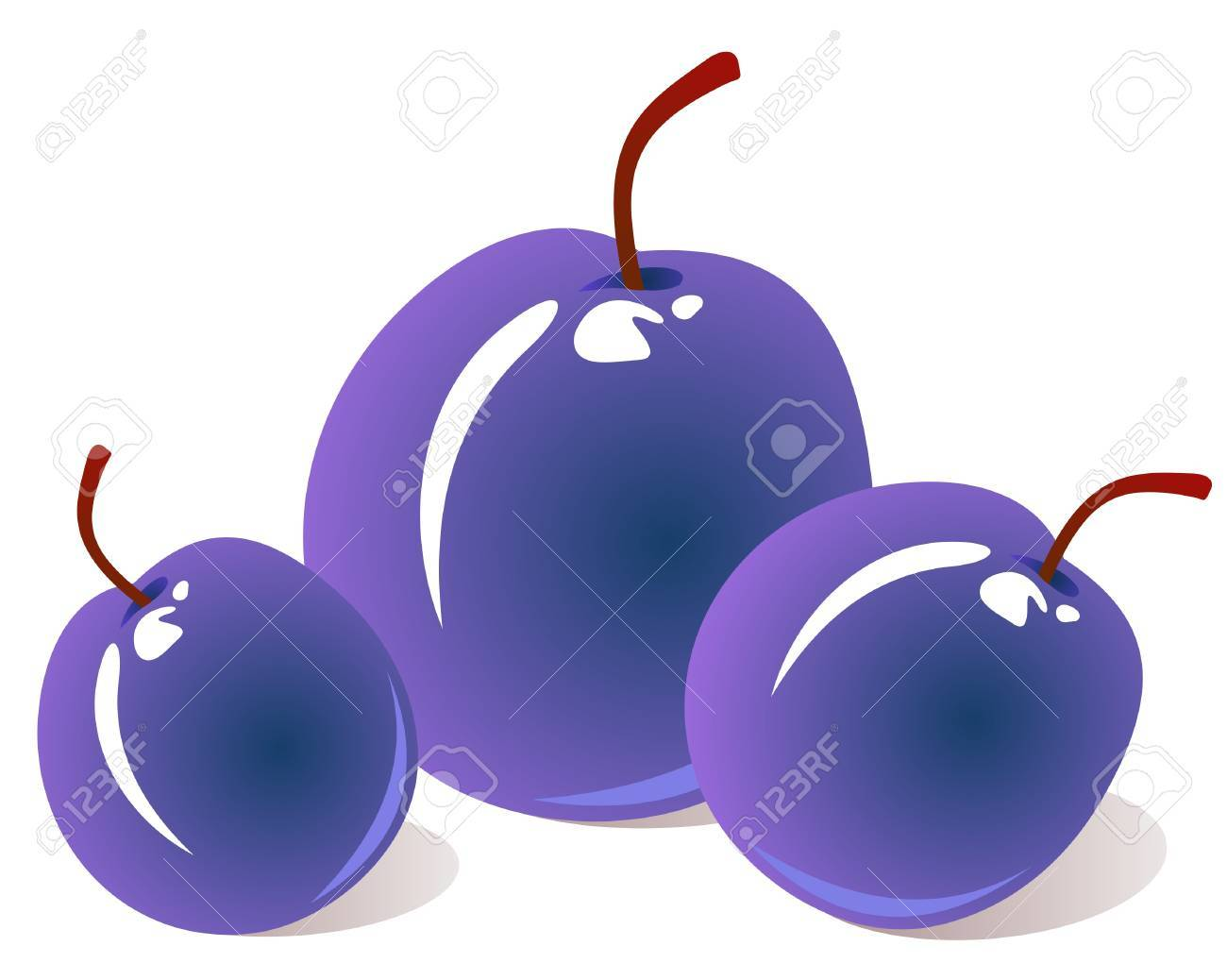 Stylized tasty plums isolated on a white background. Stock Vector - 4822333