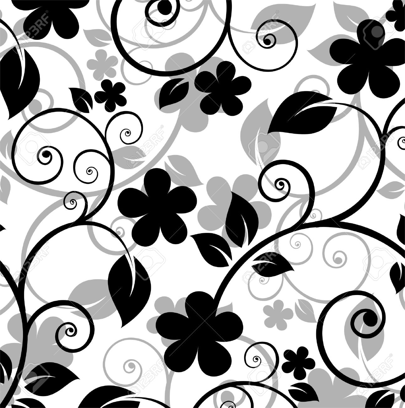 Black Floral Pattern On A White Background Royalty Free Cliparts