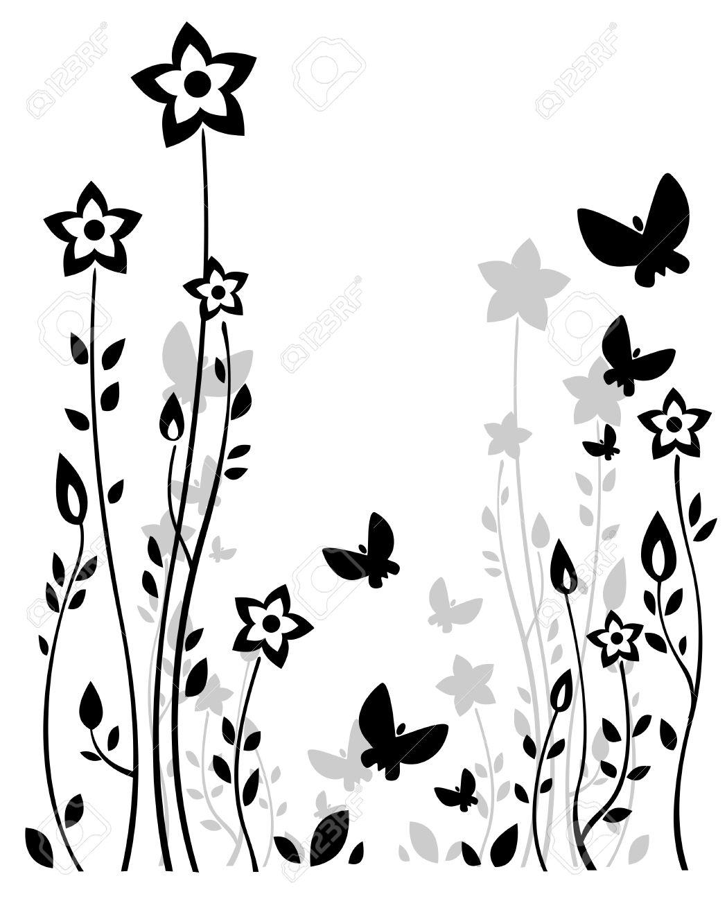 Siluetas estilizadas flores y mariposas sobre fondo blanco. Foto de archivo - 5069322
