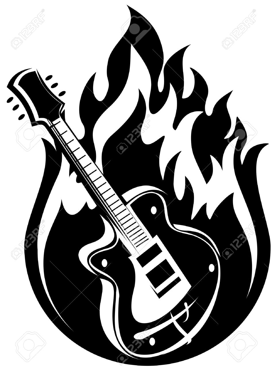 Stylized Electric Guitar And Fire On A White Background Stock Vector