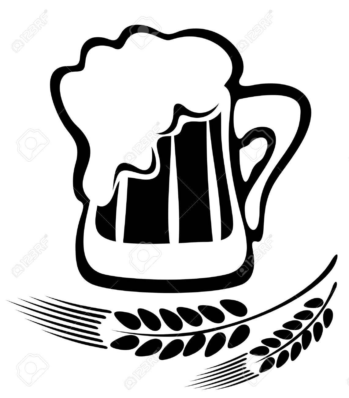 Stylized beer mug and ears isolated on a white background. Stock Vector - 5221983