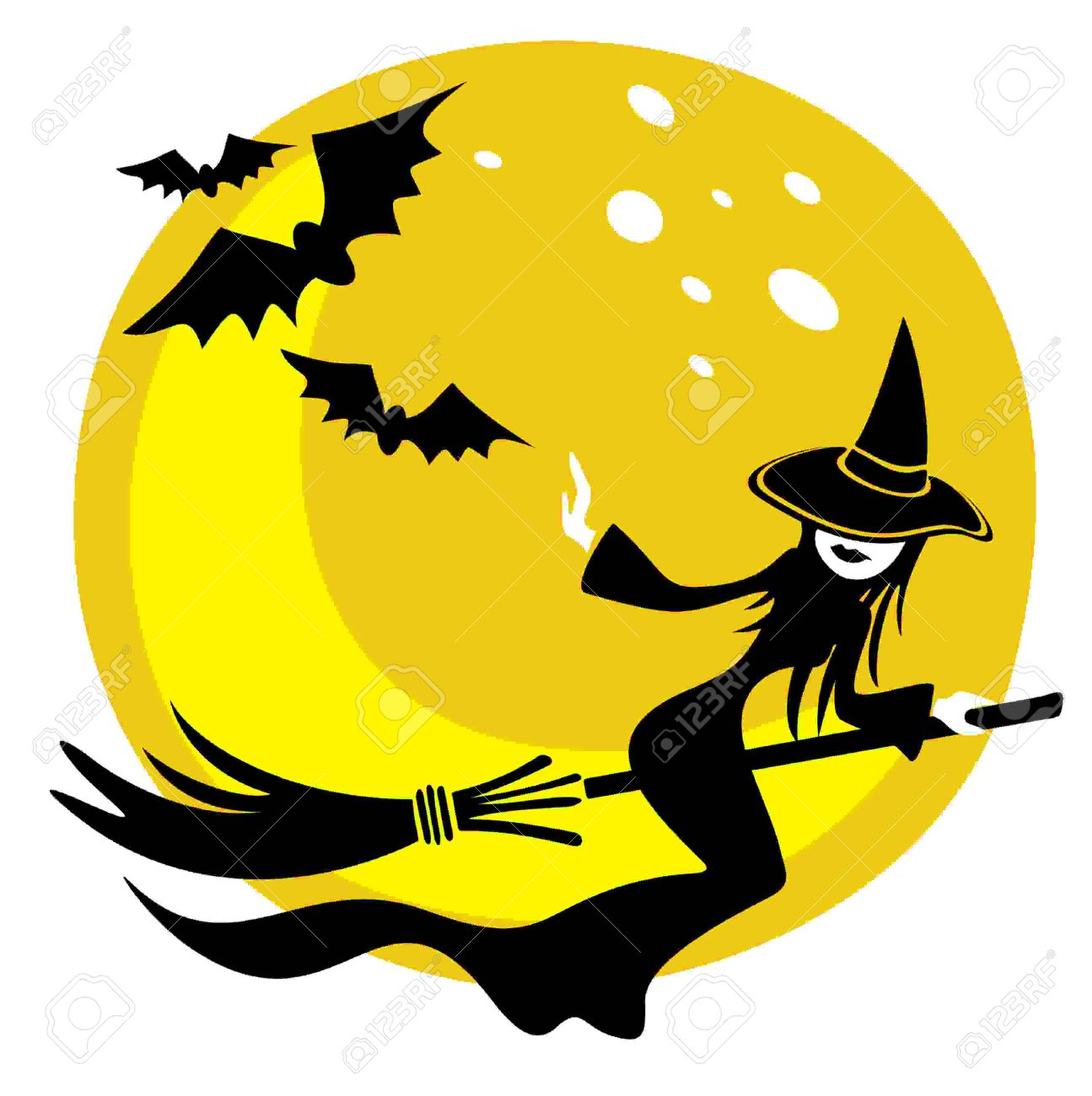 nice flying witch on a moon background halloween illustration stock vector 5260388 - Flying Halloween Witch