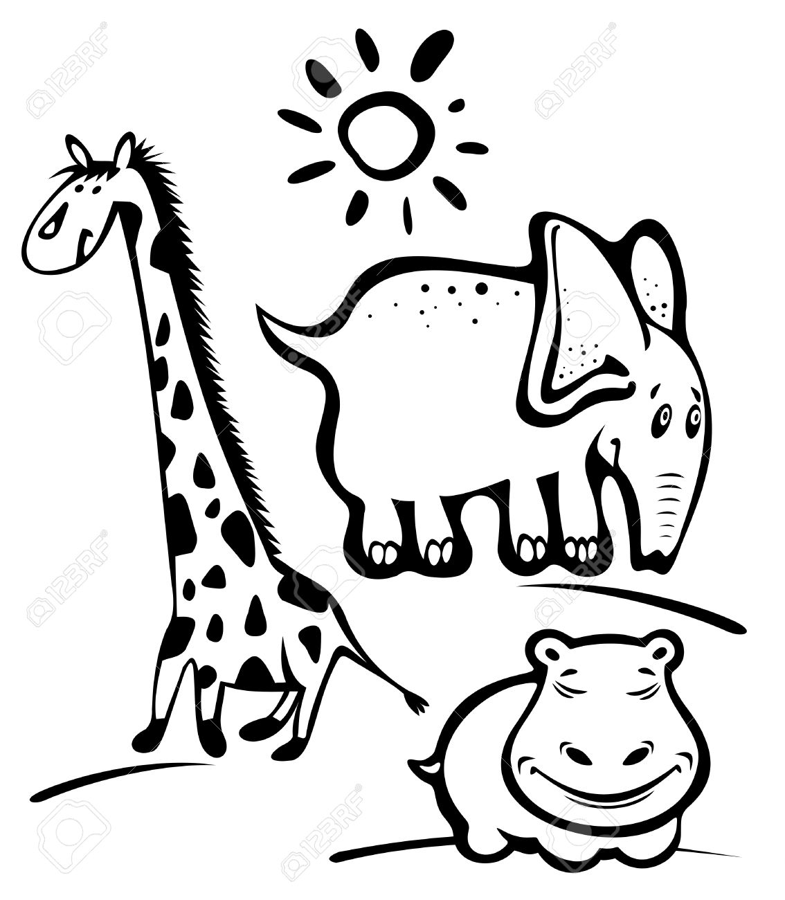 Cartoon wild animals: giraffe, elephant, hippopotamus isolated on a white background. Stock Vector - 5516132
