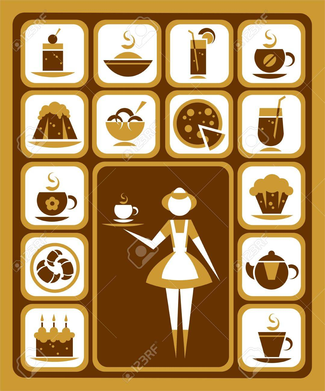 Nice stylized waitress and food icons set. Stock Vector - 5993002