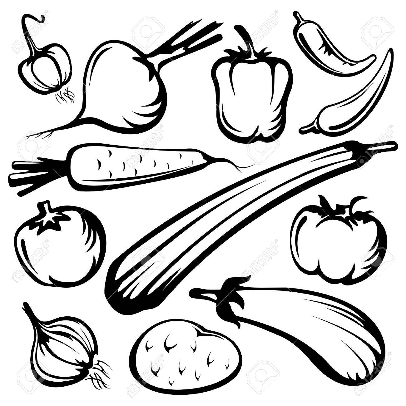 stylized vegetables set silhouettes isolated on a white background