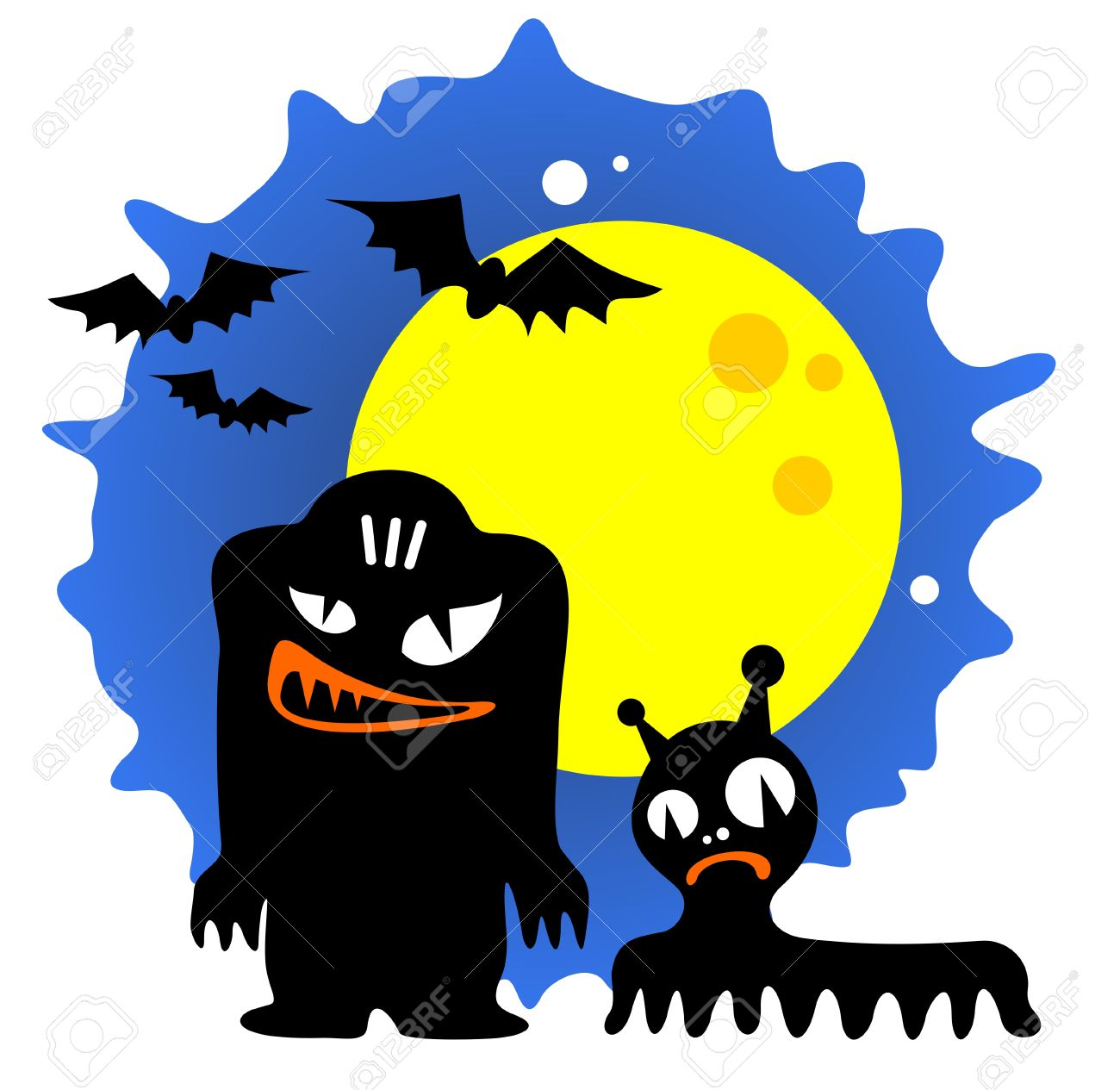 Two Cartoon Halloween Monsters And Moon On A Blue Background ...