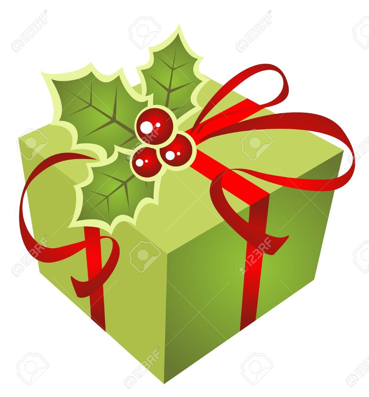 Boite De Cadeau De Noel Vert Isole Sur Un Fond Blanc Clip Art Libres De Droits Vecteurs Et Illustration Image 11670232