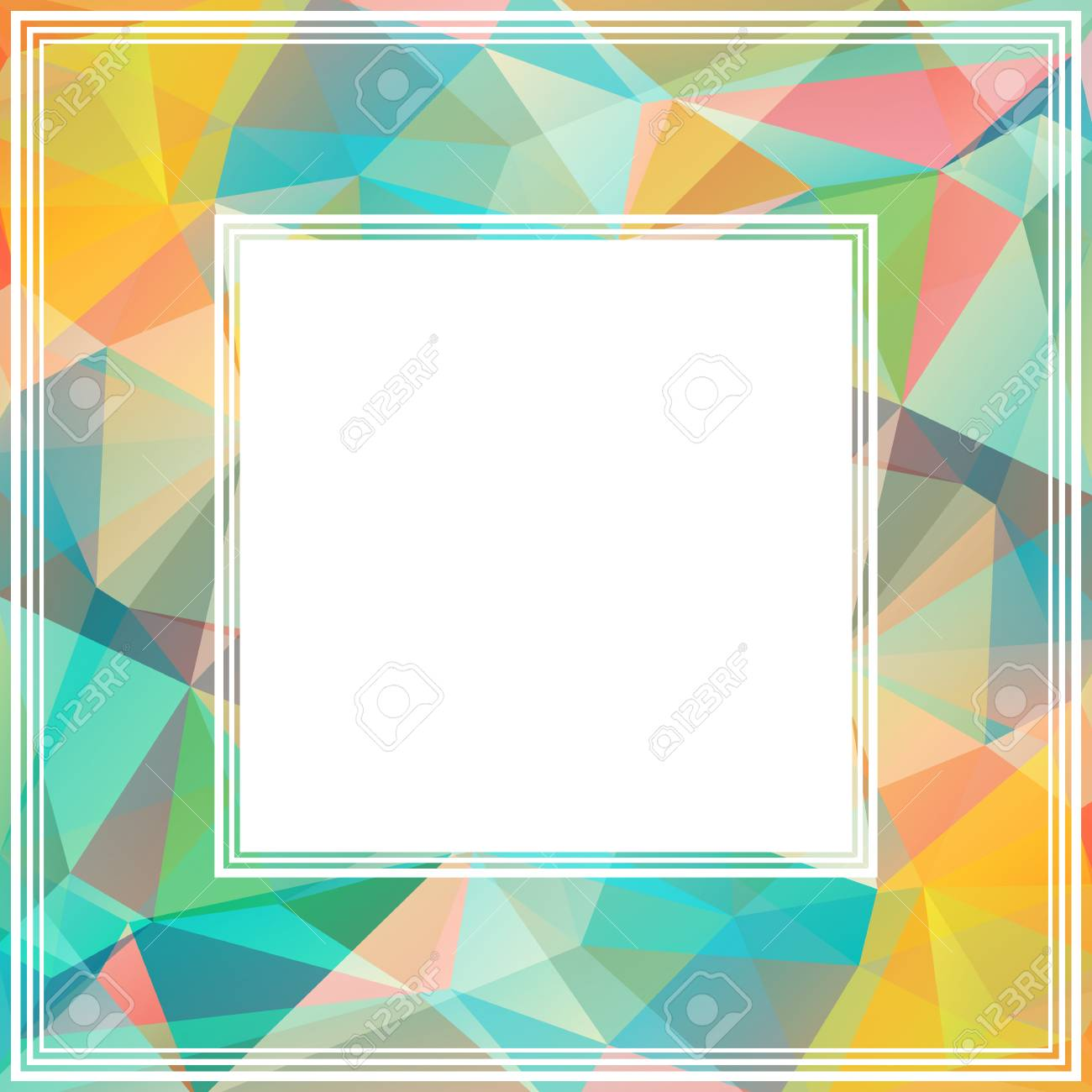Polygonal Abstract Border With Blue And Yellow Triangles