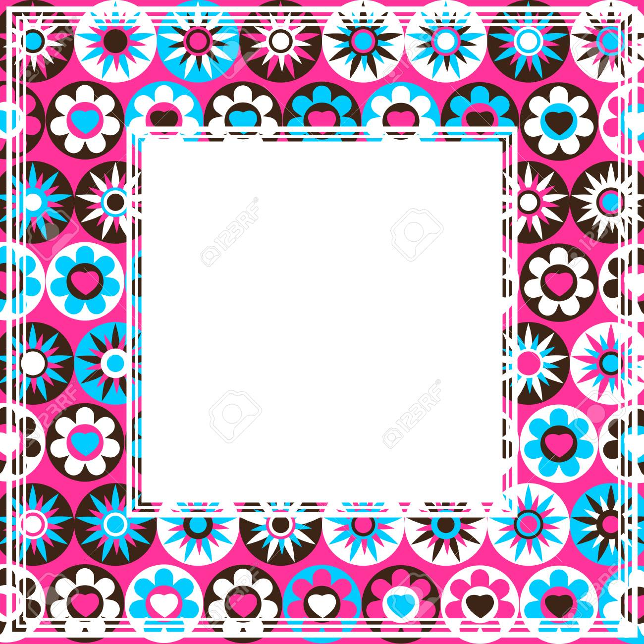 Abstract Pink Border With Multicolored Flowers And Stars Royalty