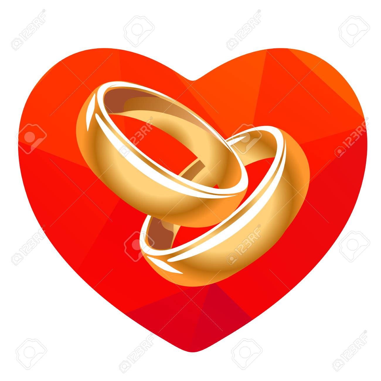Red Heart And Two Wedding Rings Isolated On A White Background Stock Vector