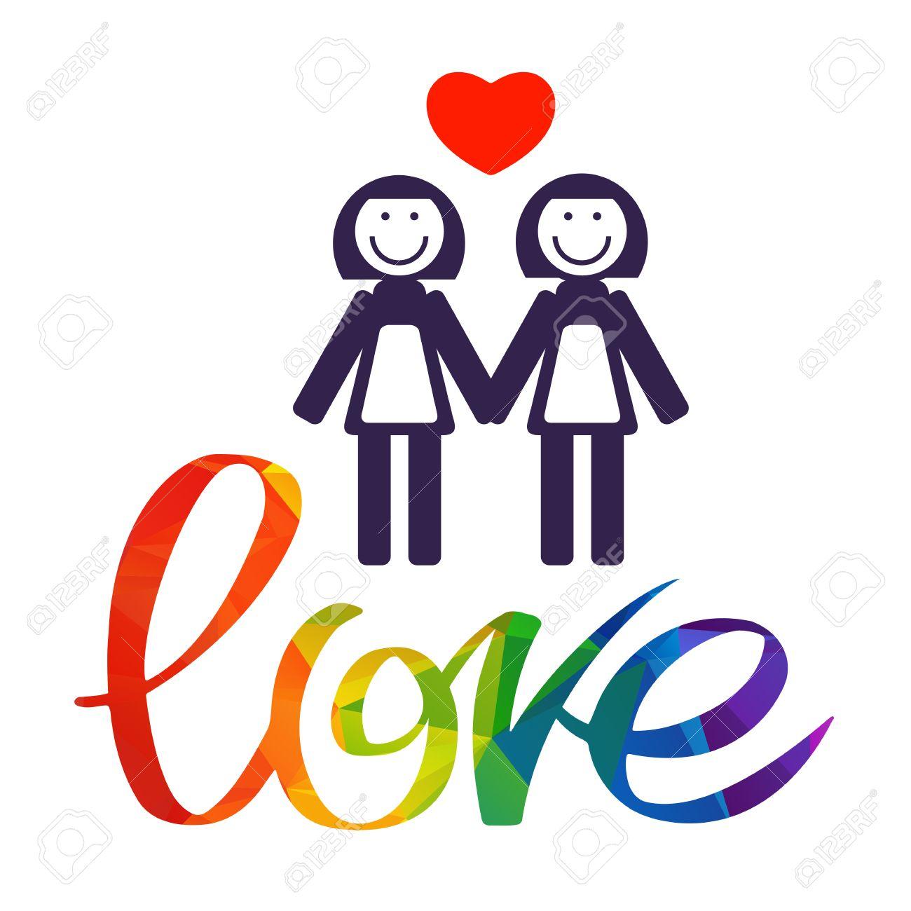 Lesbian couple with rainbow hand drawn letters isolated on white lesbian couple with rainbow hand drawn letters isolated on white background gay love symbol buycottarizona