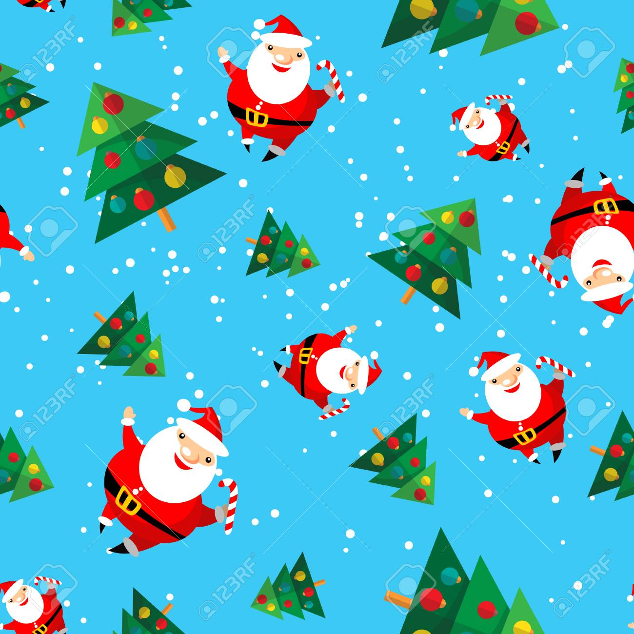 - Cartoon Happy Santa Claus With Christmas Tree On Blue Background