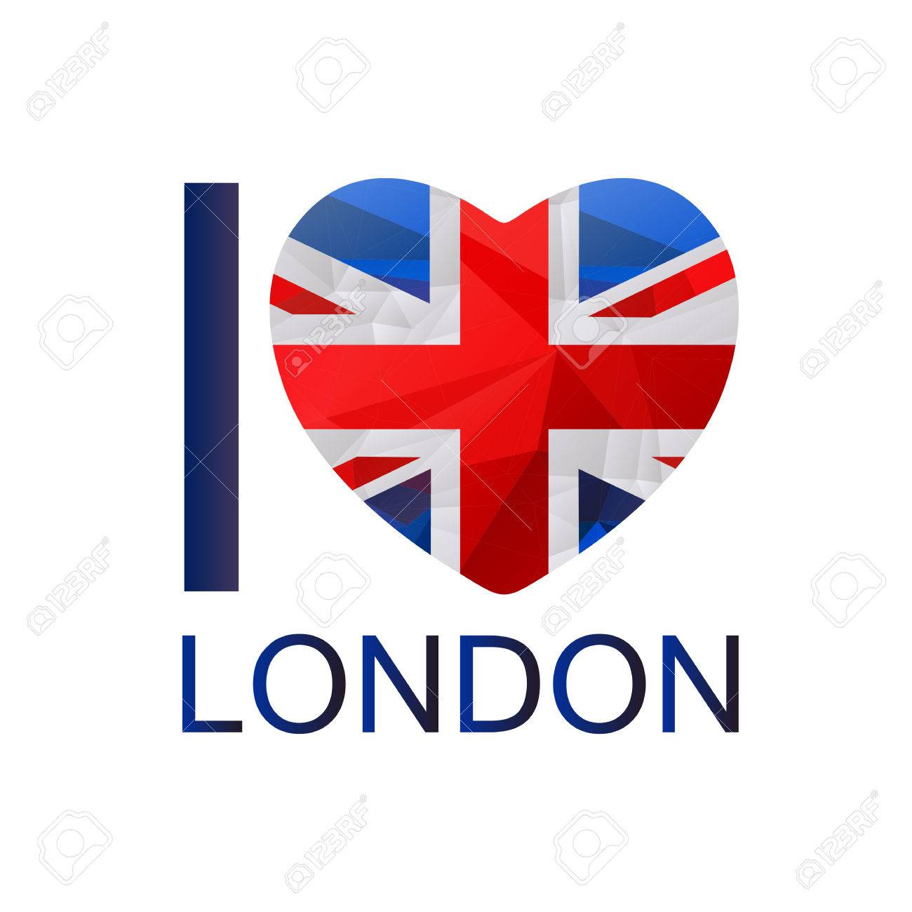 I Love London Text With Symbol Isolated On White Background Heart Union Jack
