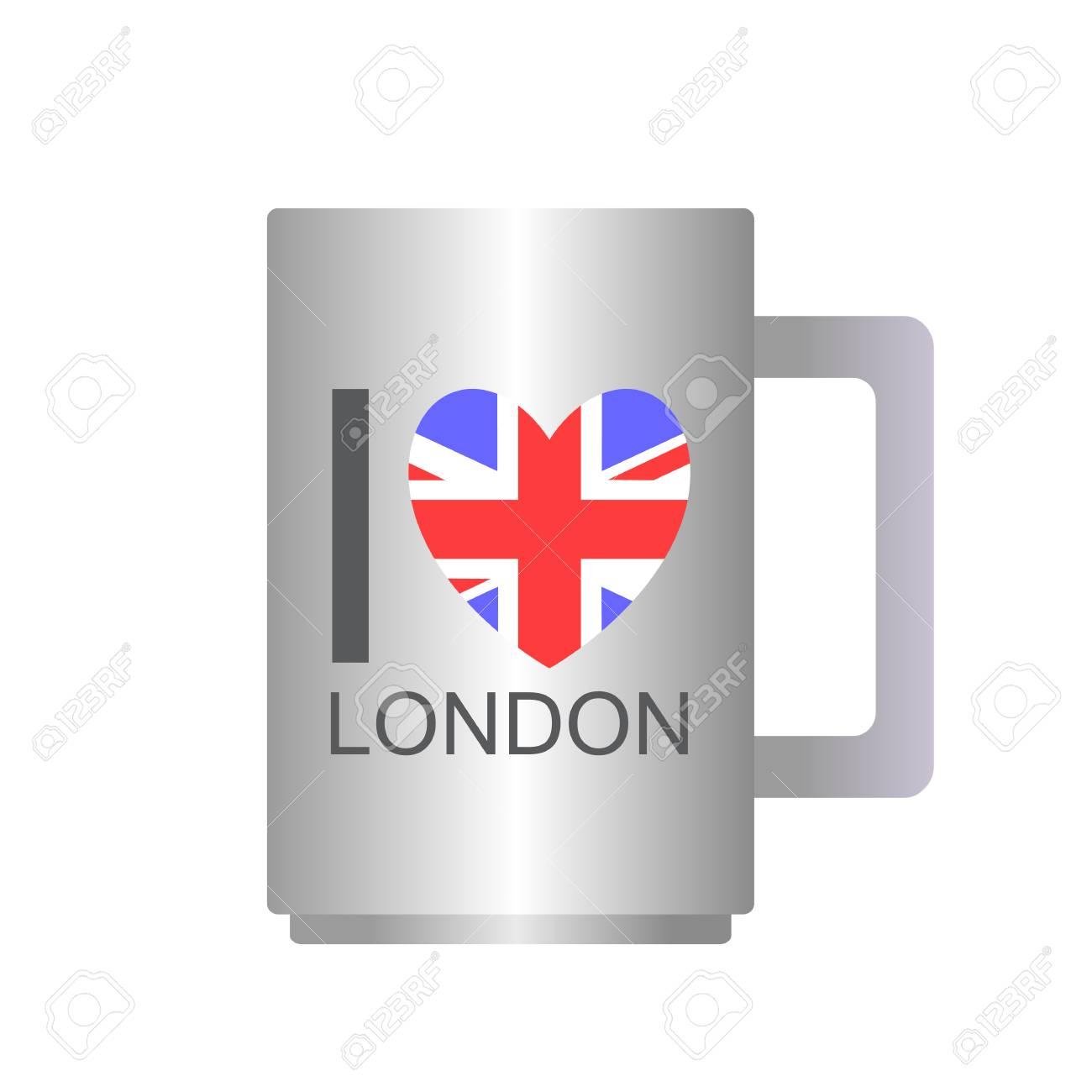 Vettoriale Amo Londra Testo Con Simbolo Tazza Di Tè Isolato Su