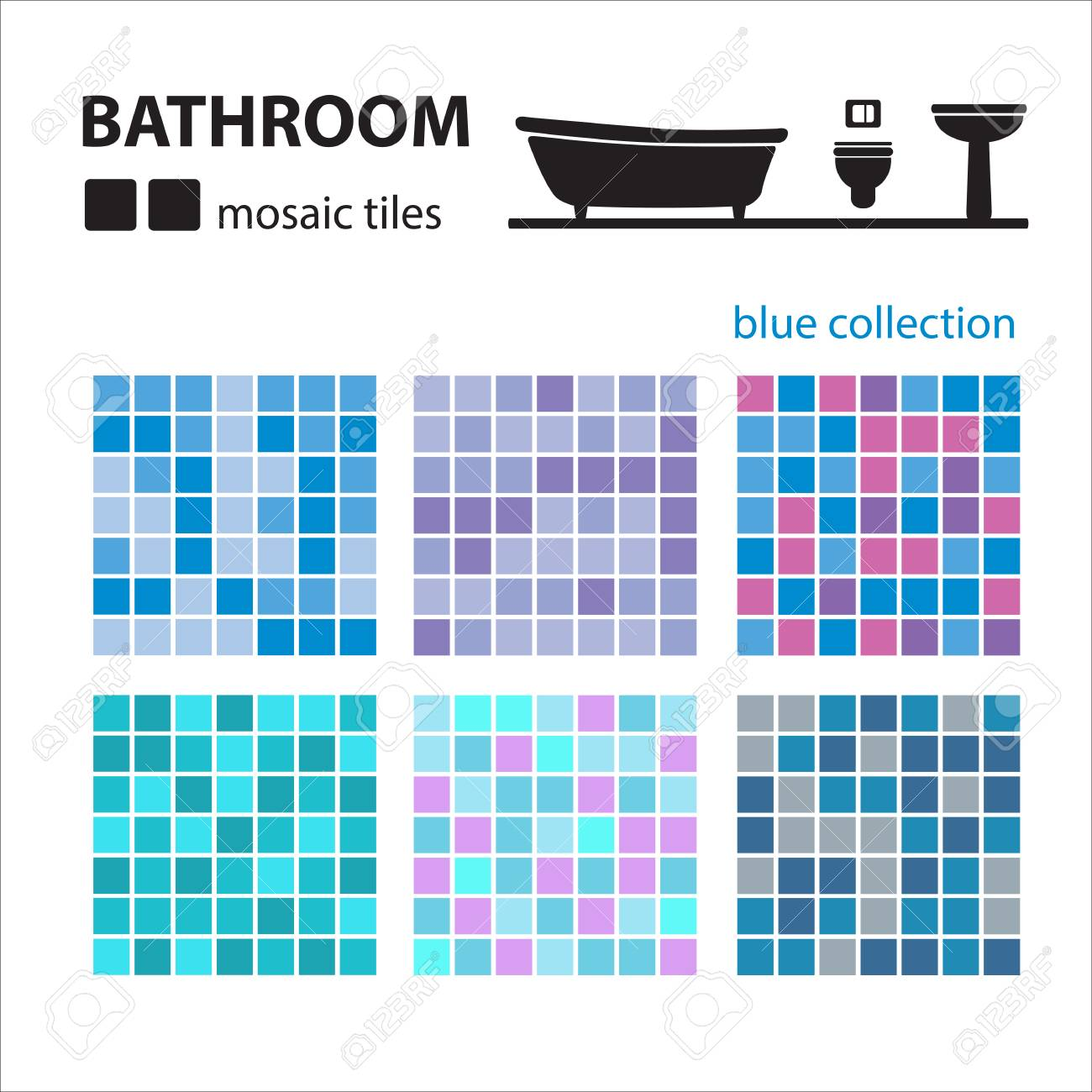 Bathroom Mosaic Tiles Set Isolated On White Background. Ceramic ...