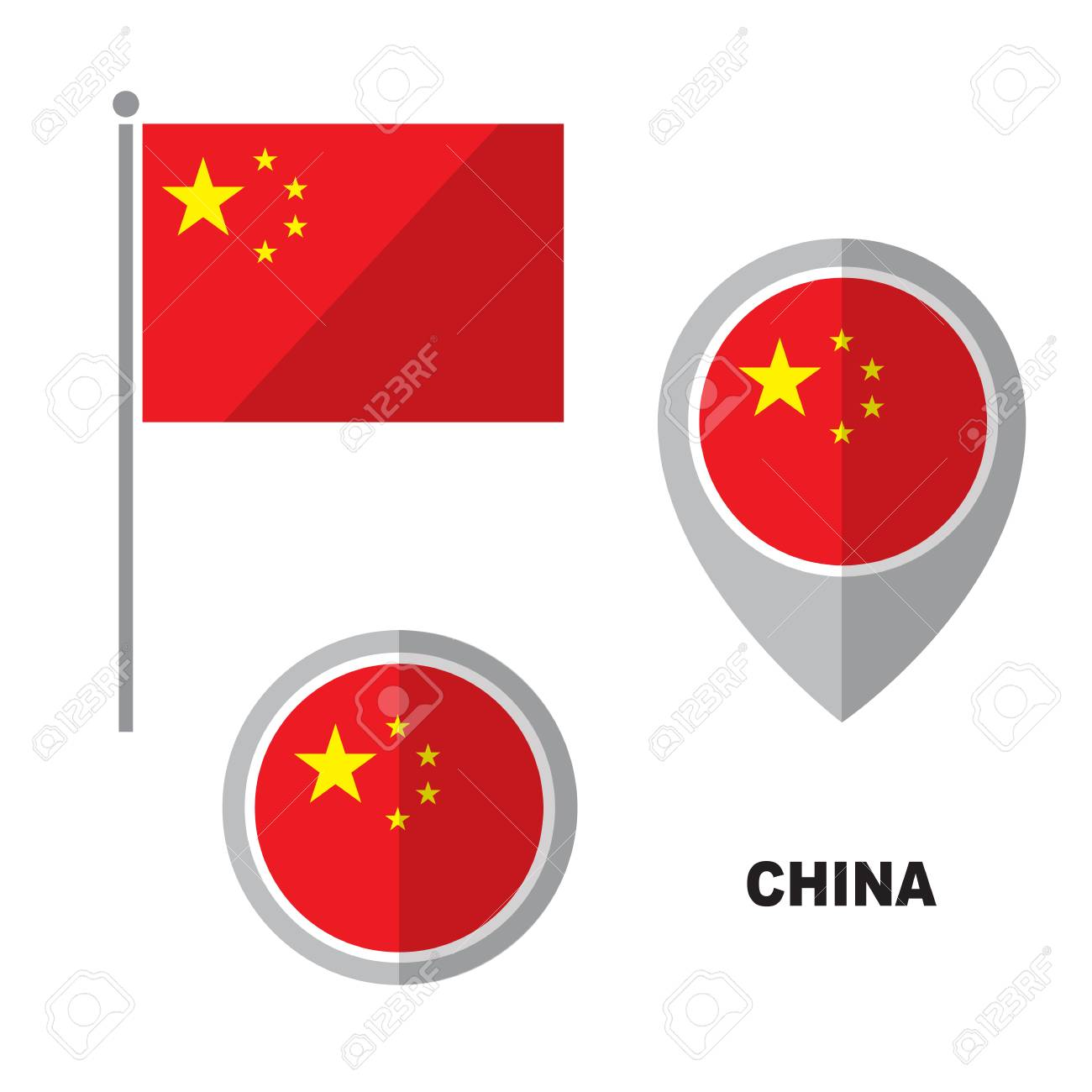 China flag and map pointer isolated on white background  Peoples