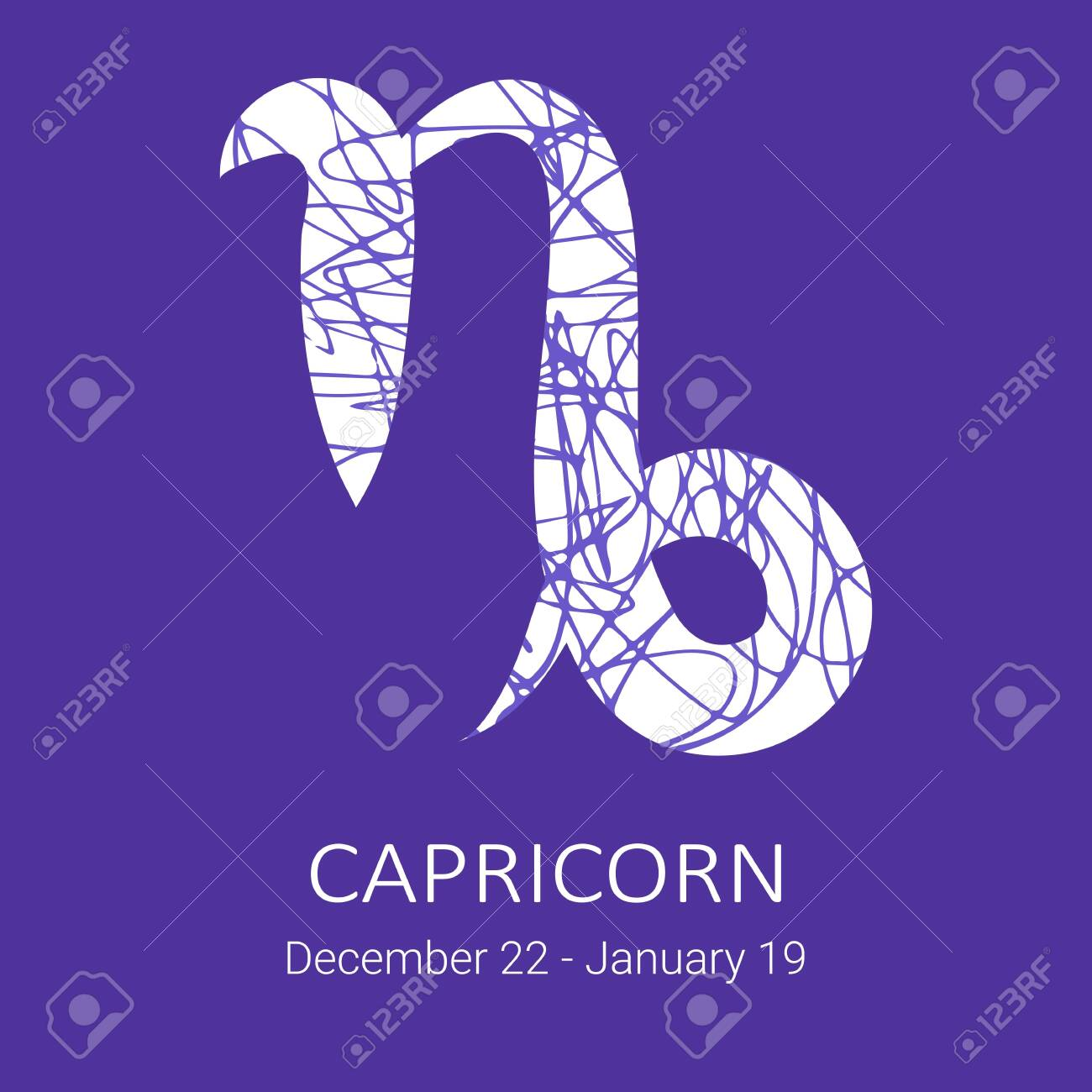 Zodiac sign Capricorn isolated on blue background  Zodiac constellation