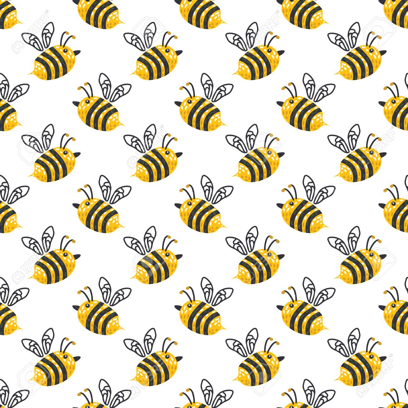 Seamless Pattern With Honeybee Vector Illustration Design Element