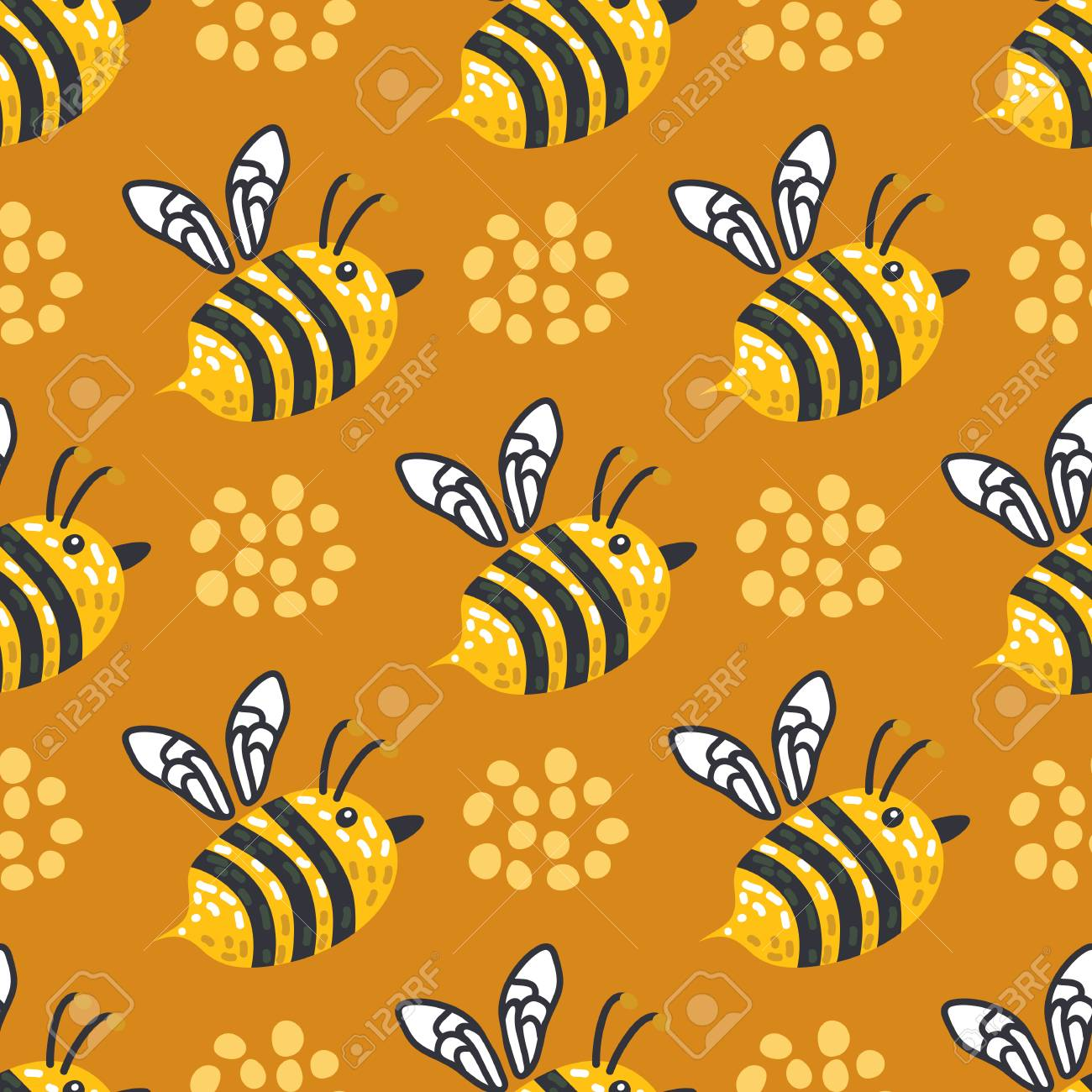 Seamless Pattern With Flowers And Honeybee Vector Illustration