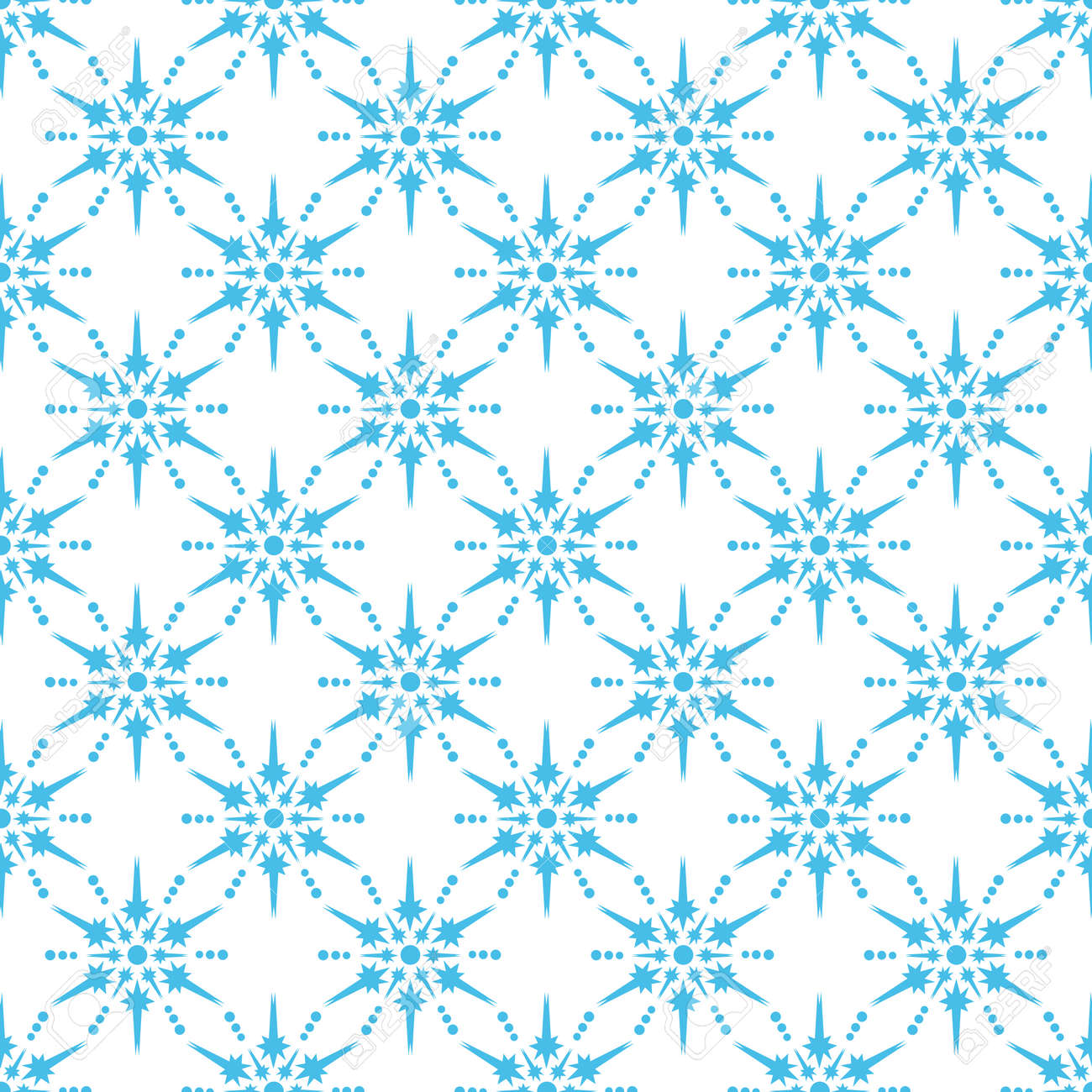 Seamless pattern with snowflakes. Flat design. Holiday New Year or Christmas vector illustration. Design element for banner, wallpaper, wrapping paper or fabric. - 135783896