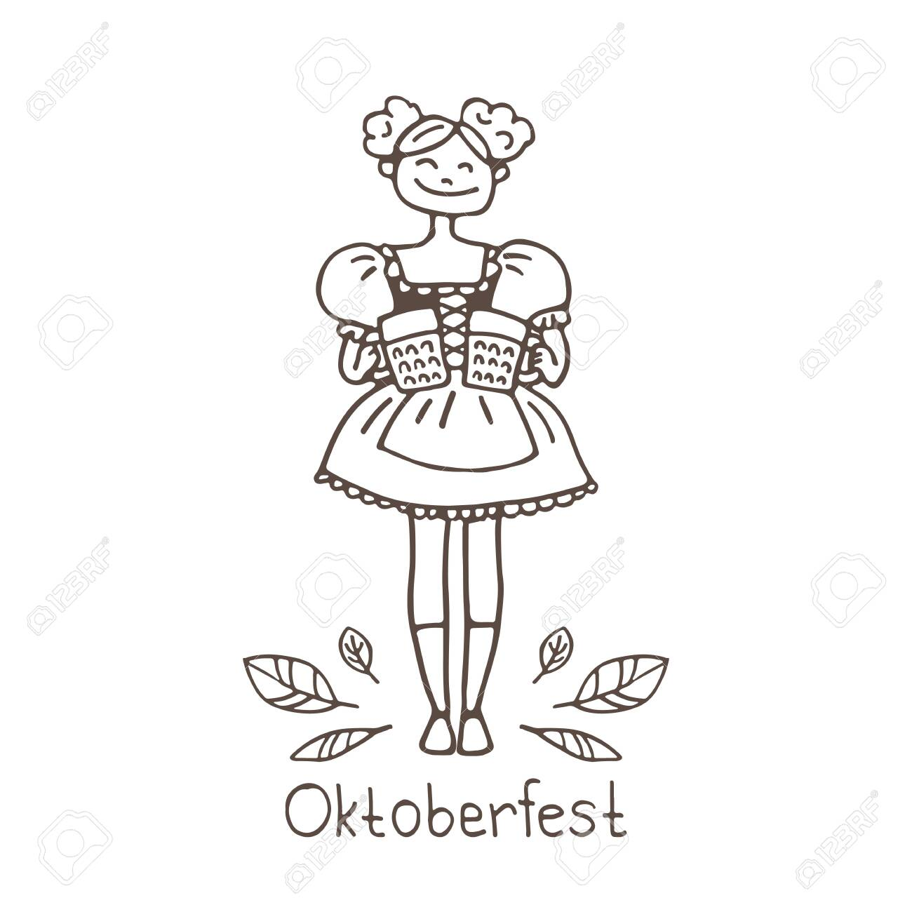 Oktoberfest Waitress With Beer Mugs Doodle Style October Beer Royalty Free Cliparts Vectors And Stock Illustration Image 139462699