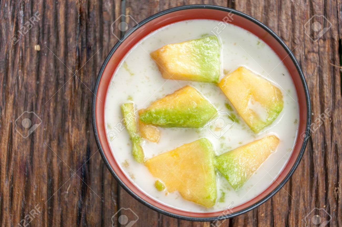 Thai Cantaloupe Melon In Syrup With Coconut Milk Stock Photo Picture And Royalty Free Image Image 27542131 When perfectly ripe, the flesh is juicy, unctuous and sweet. 123rf com