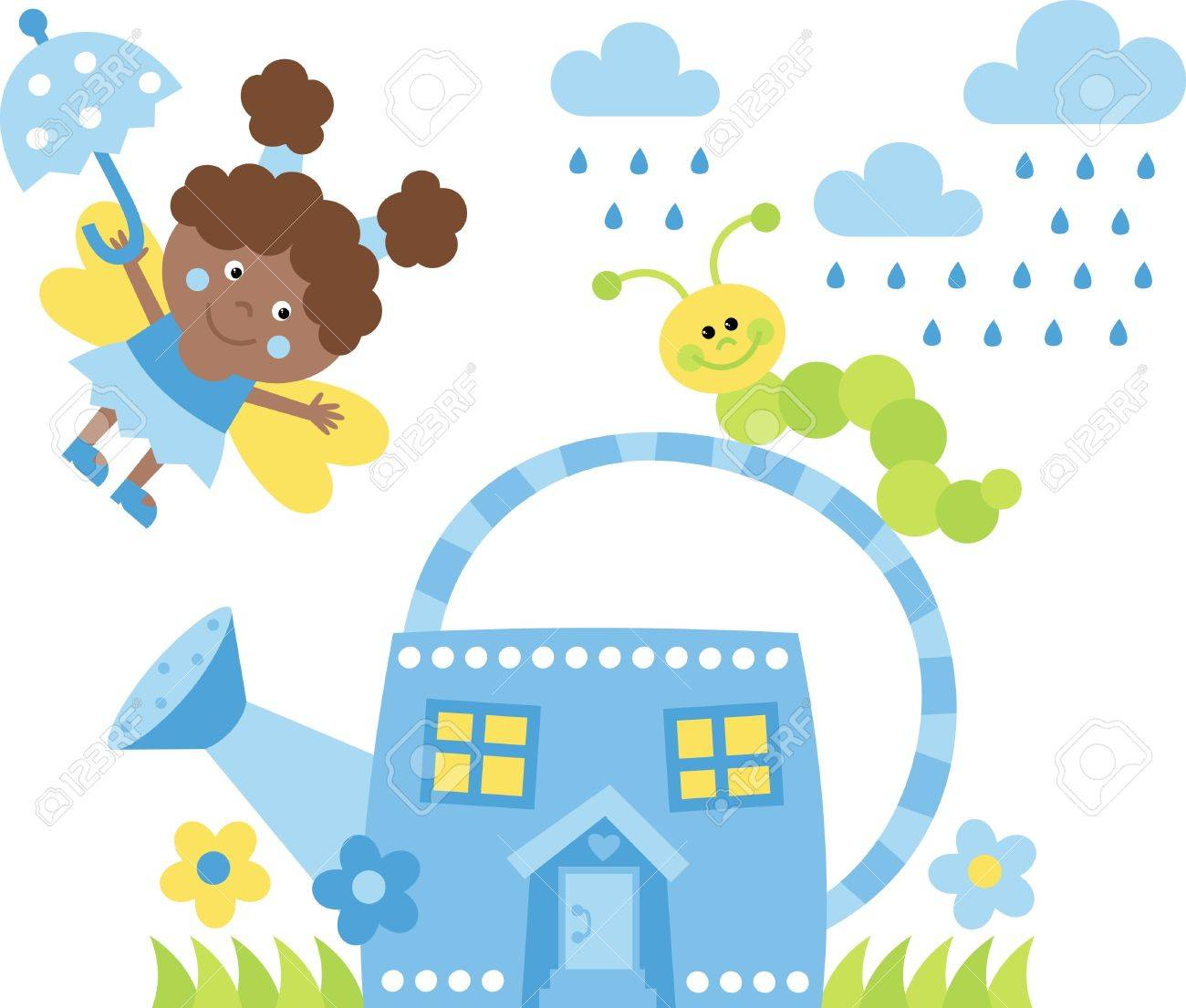The little fairy house from watering can Stock Vector - 9579243