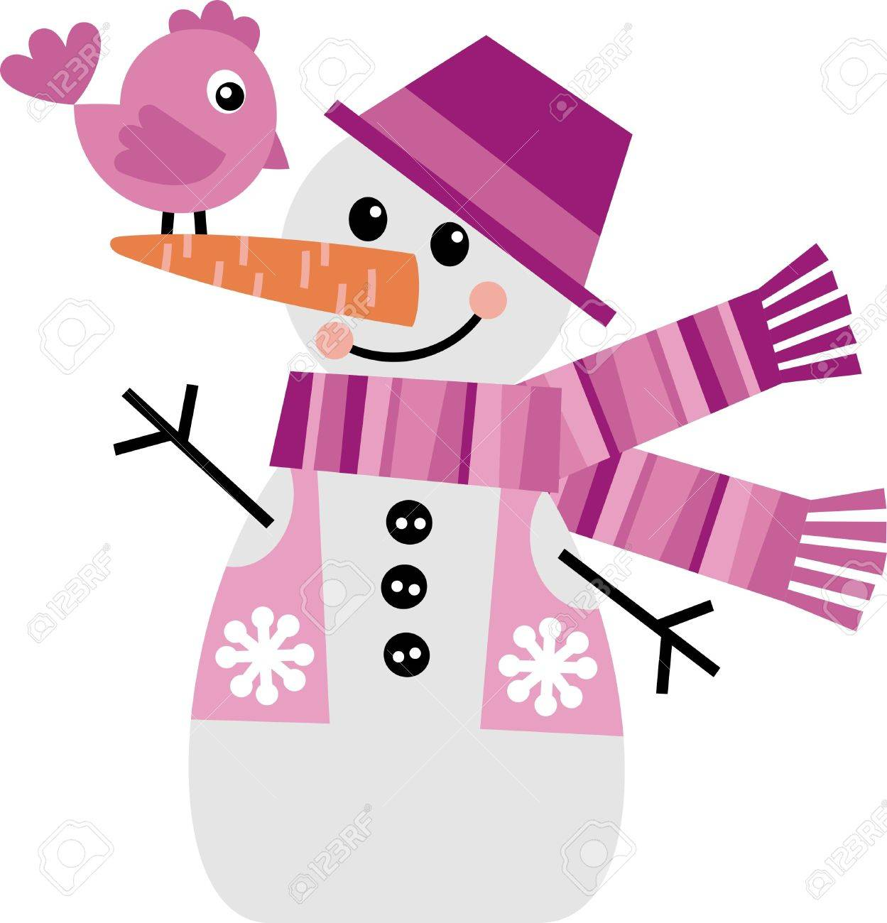 Vector image of a snowman with a little chicken Stock Vector - 10884464