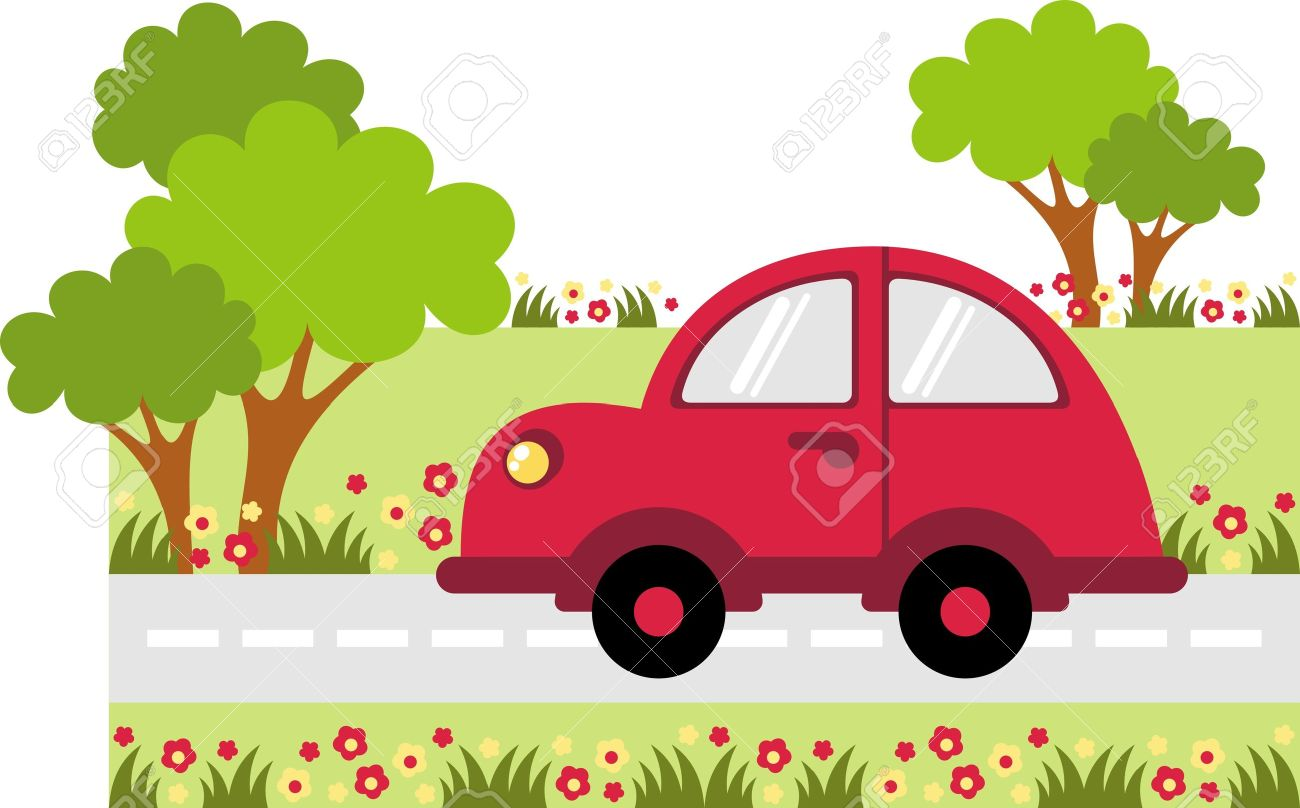 Small Car Traveling On The Road Along The Tree Royalty Free Cliparts