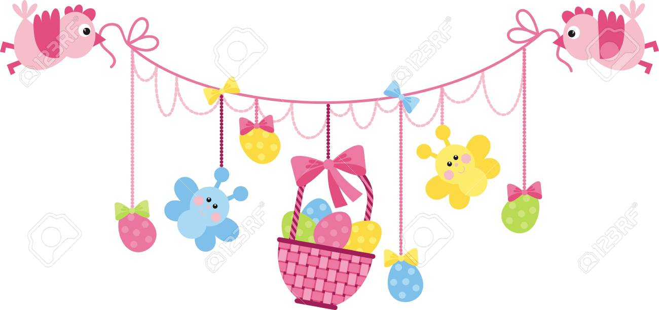 Vector image. Easter Arrangement - the birds are kept in the beak a basket and Easter Stock Vector - 12369210