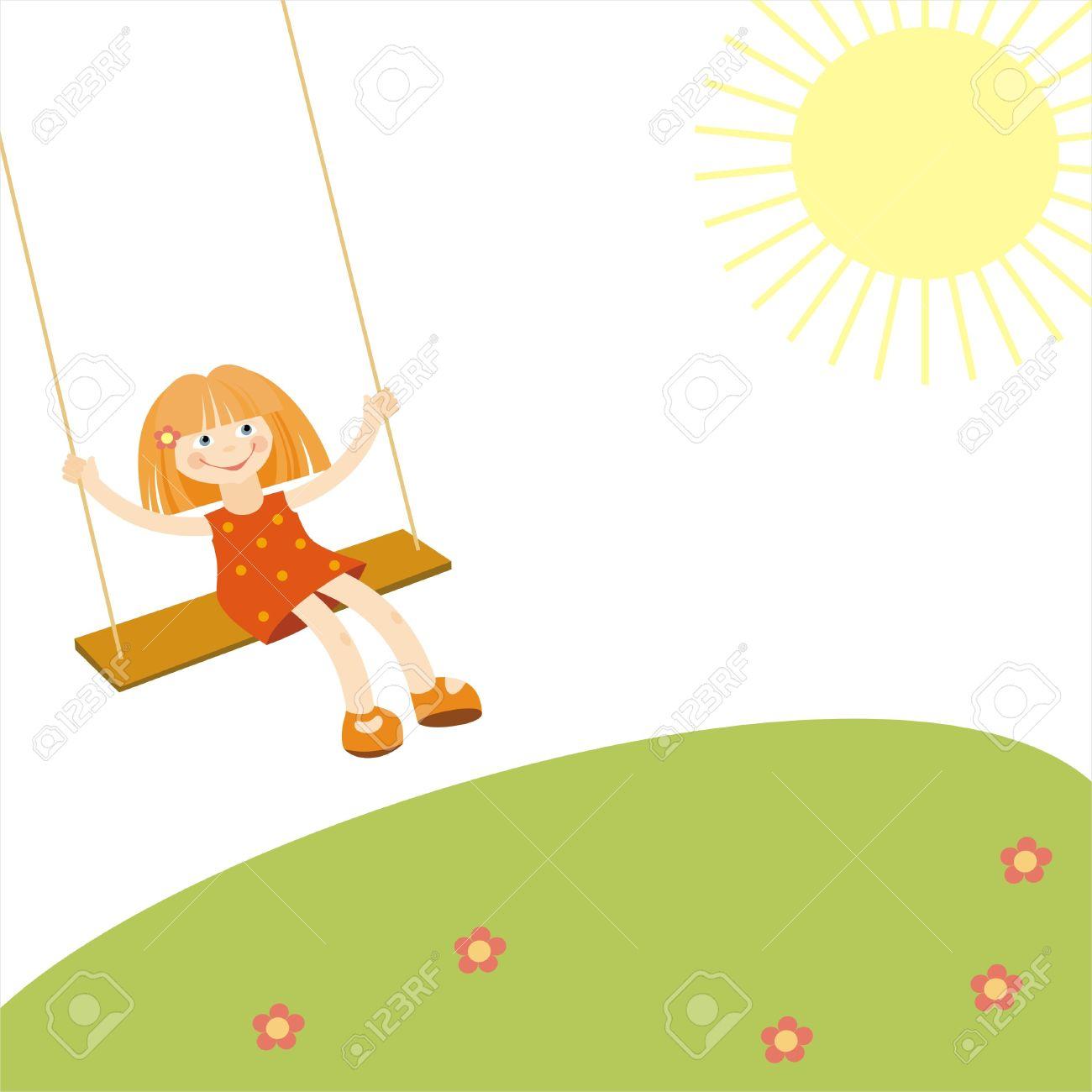 banque dimages petite fille sur une balanoire illustration