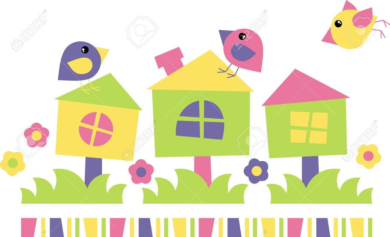 birdhouse for three little birds Stock Vector - 18150534