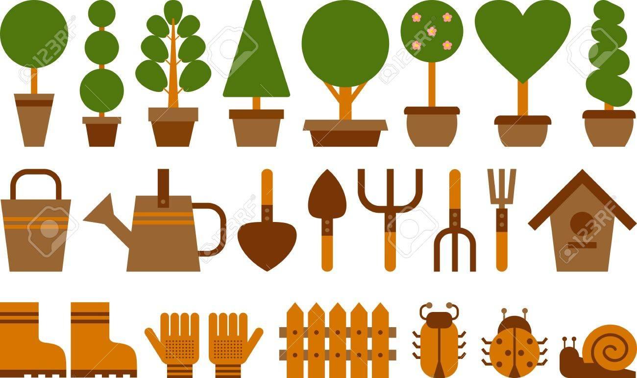 set of garden tools and topiary in terracotta pots Stock Vector - 18955706